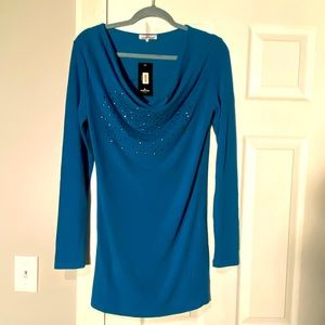 NWT Kristine Teal Long Sleeve with Cowl Neck Top